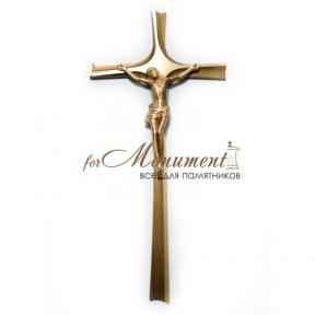 Крест католический с распятием латунь 40 см Польша арт.09
